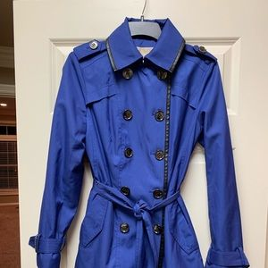 Michael Kors Double Breasted Trench Coat Blue Sm